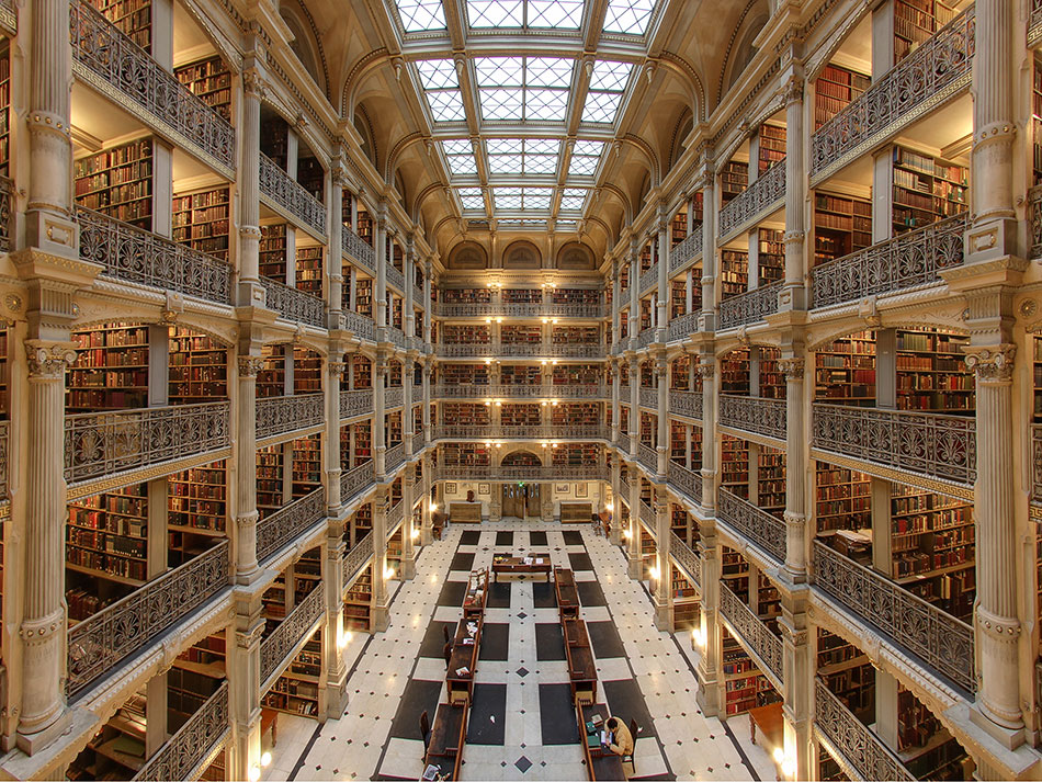 George Peabody Library @ Johns Hopkins University, Baltimore, Maryland