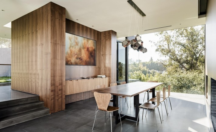 Dining table with modern lighting