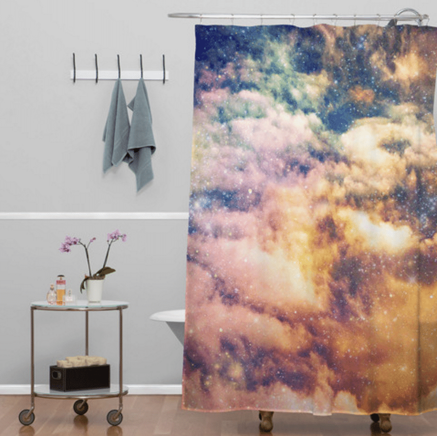 cosmic theme shower curtain