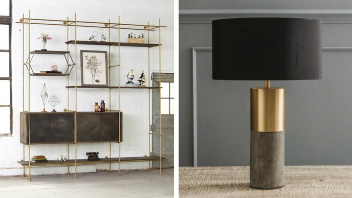 The Collector's Shelving System By Amuneal & Concrete And Brass Lamp By Graham & Green