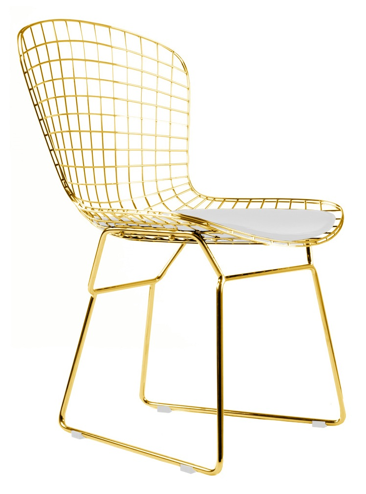Reproduction Bertoia Side Chair In Gold Finish By Advanced Interior Design