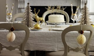 Inspiration: 6 Modern Styles For Your Christmas Dining Table - Talking Tables Party Porcelain Gold Christmas Dining Christmas Lifestyle Portrait Courtesy: talkingtables.co.uk