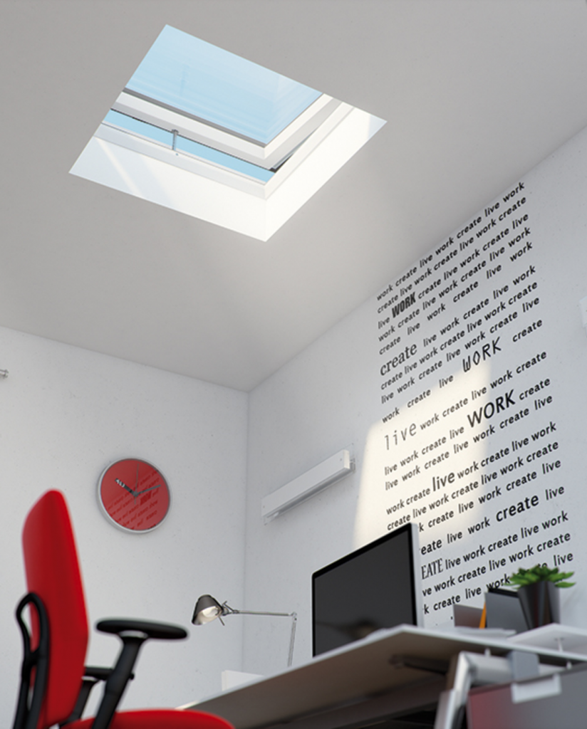 7 Home Office Loft Conversions That Will Make Working From Home Blissful - red and white office loft conversion - Image from Fakro.co.uk