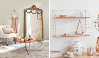 Still Crushing On Copper In 2017 - Comte Copper-Plated Metal Mirror Coffee Table, Lulea Copper Metal Wall Shelf & Copper Glass Vase - MaisonsDumonde.com