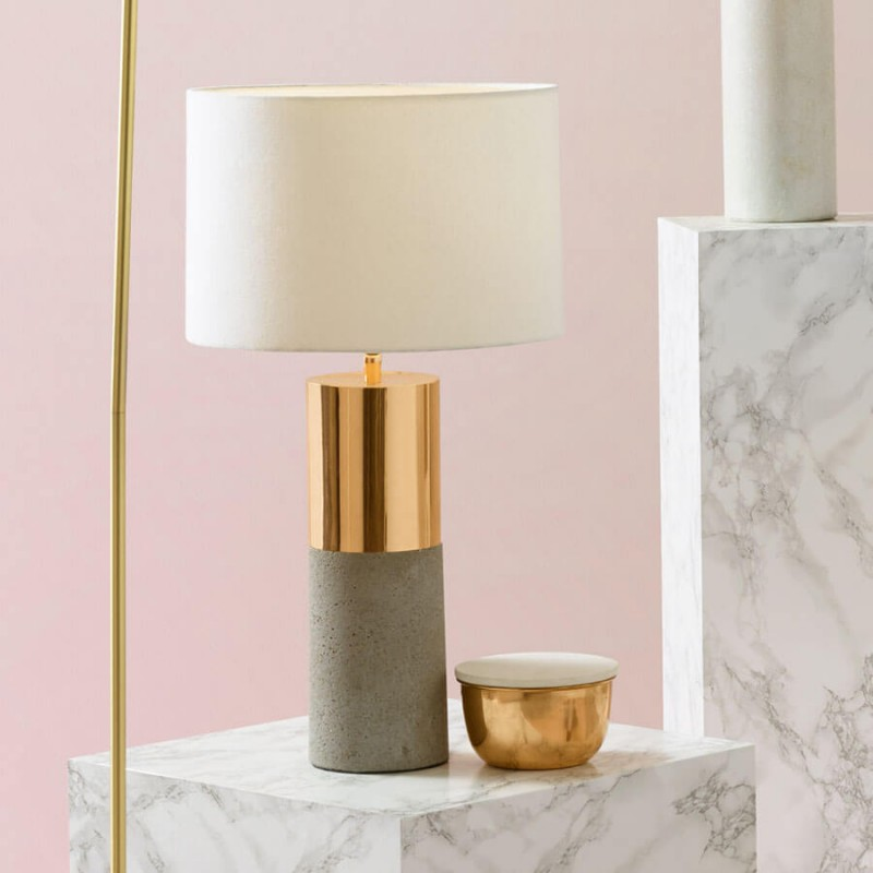 Still Crushing On Copper In 2017 - Copper Table Lamp With Half Concrete Base - Zurleys.co.uk