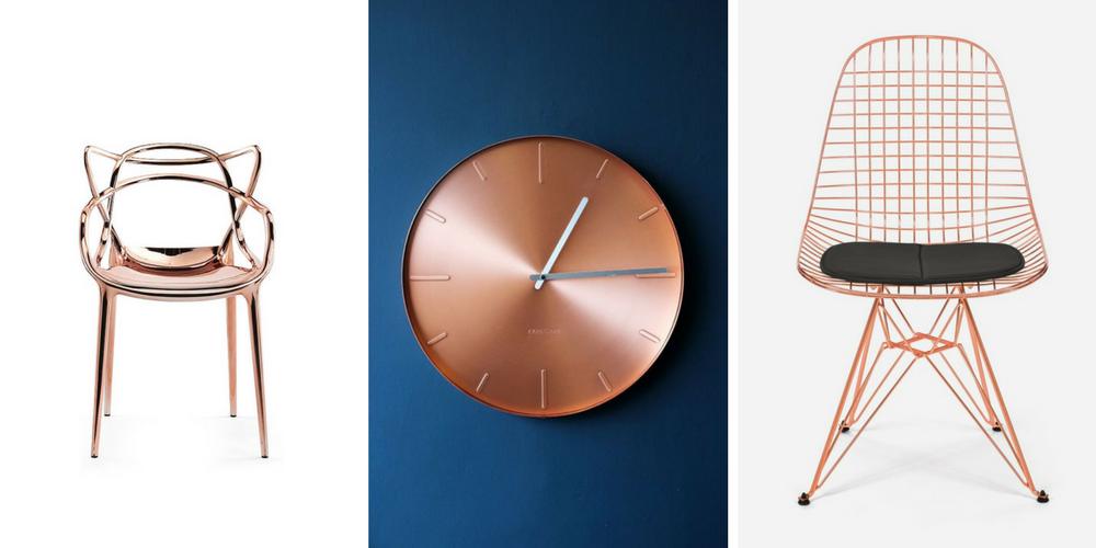 Still Crushing On Copper In 2017 - Kartell Metal Masters Chair LoveTheSign.com, Round Copper Wall Clock RockettStGeorge.co.uk, Case Study Wire Chair Eiffel – Copper Modernica.net