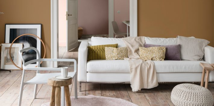 How To Create The Perfect Autumn Living Room - Spiced Honey Paint By Dulux - Image Via IdealHome.co.uk