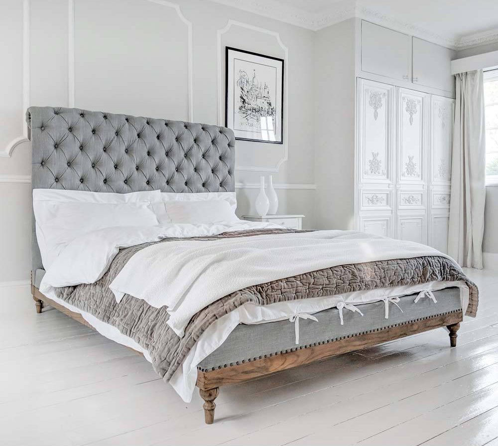 Using Grey In Your Home - Lottie Low Footboard Chesterfield Bed - Image Via frenchbedroomcompany.co.uk