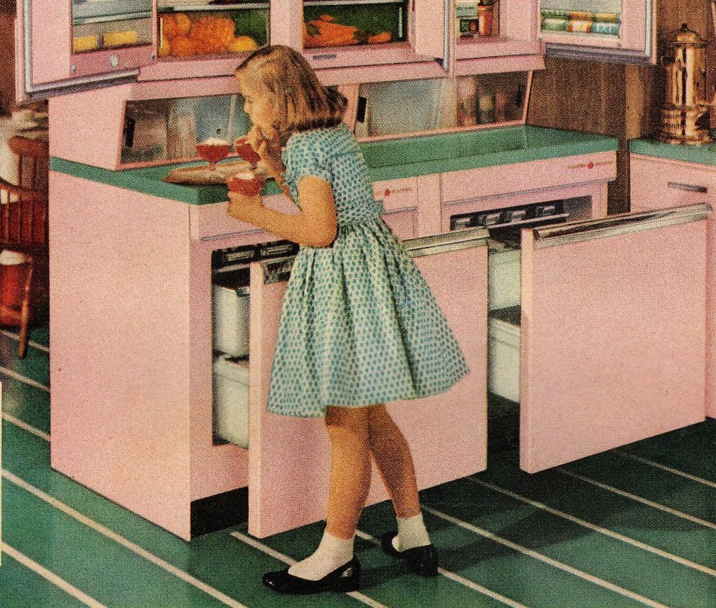 7 Ways To Add Colour To Your Kitchen - Pink 1950s Kitchen - Image Via RetroRenovation.com