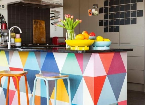 7 Ways To Add Colour To Your Kitchen -Geometric Brights- Image by Larnie Nicolson, via PoppyTalk.co.uk