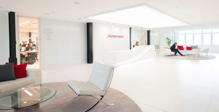 What Your Office Design Says About You To Visitors And Interviewees  - Image Of Shiseido Office Reception - Image Via maris-interiors.co.uk