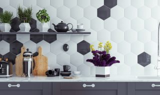 4 Kitchen Tile Ideas To Transform Your Home For Summer - Hexagonal Black and White Kitchen Tiles