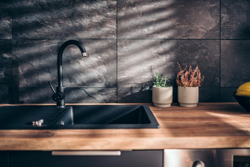 Kitchen Stone Tiles Wooden Worktops