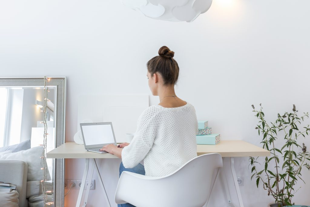 Women, Desk, Laptop