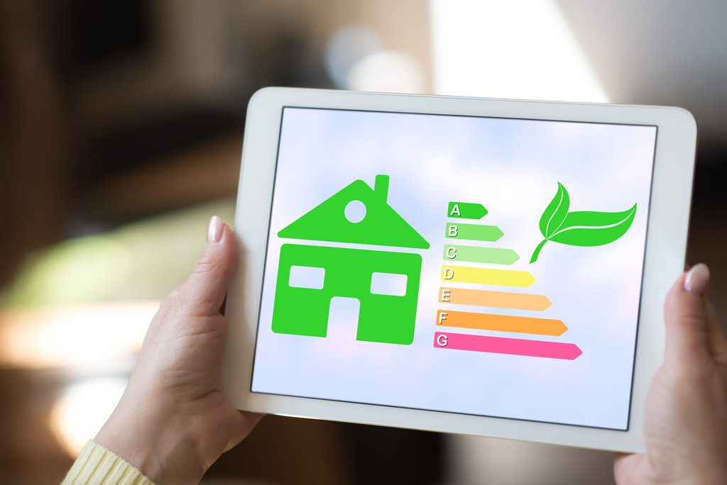 Tablet screen displaying a home energy efficiency concept