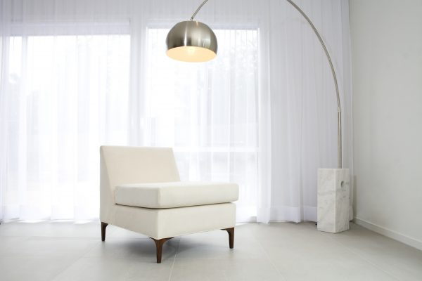 Contemoorary Chrome and Marble Floor Lamp