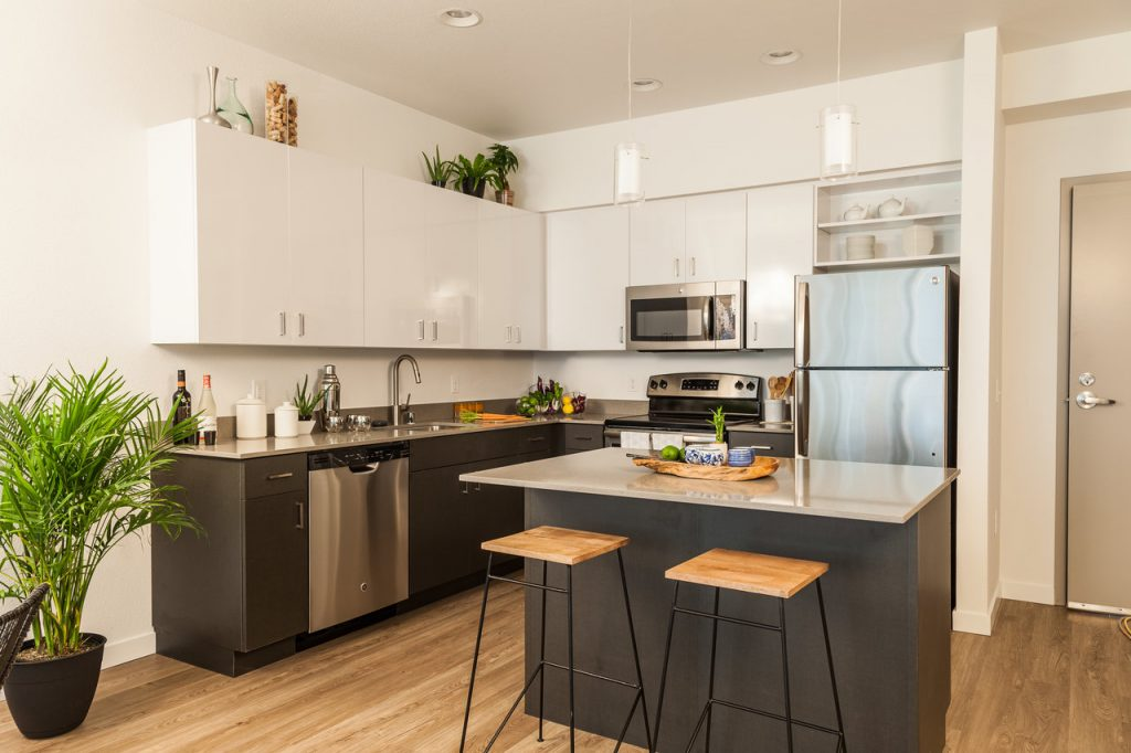 Kitchen With Chrome Appliances