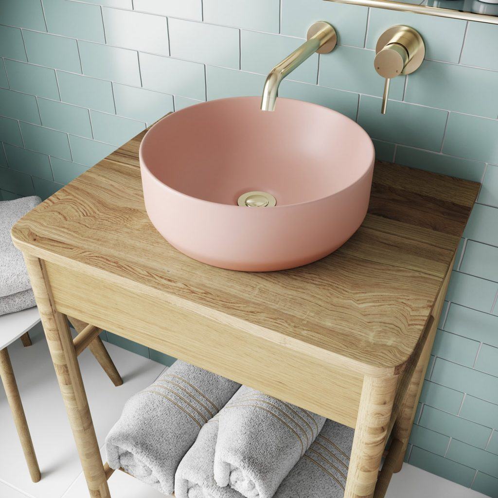 Mode Orion pink coloured countertop basin