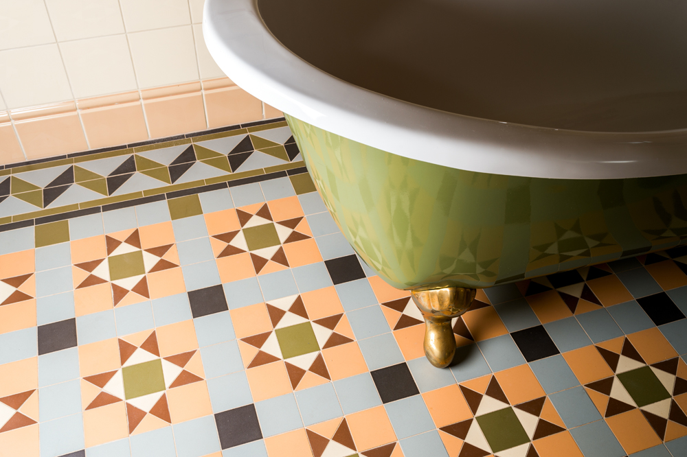 Bathroom flooring with paterned tiles