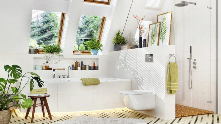 White luxury bathroom with bathtub and shower with plants and skylight