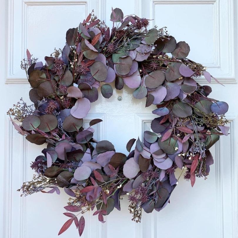 Home Luxe Co Burgundy Russet Eucalyptus Wreath