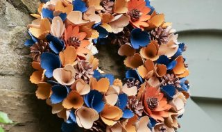 Midnight Blue Autumn Harvest Floral Wreath — Dibor