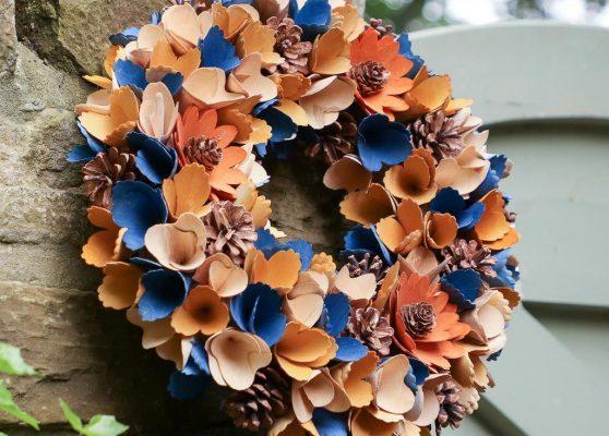 Midnight Blue Autumn Harvest Floral Wreath — Dibor
