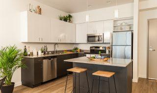 Grey kitchen with vinyl flooring