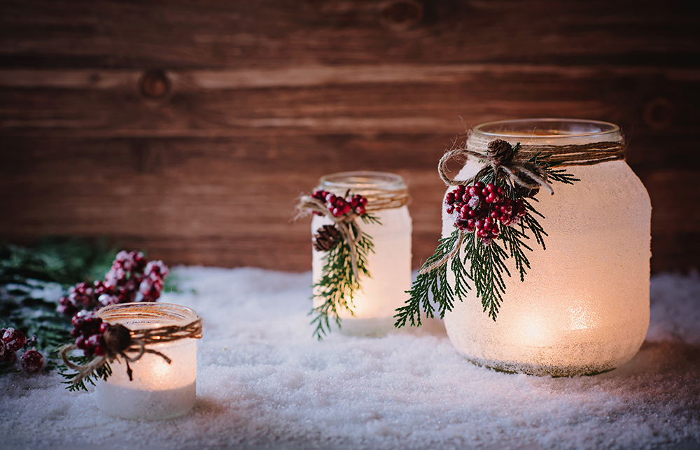 Christmas Candle Display In Jars