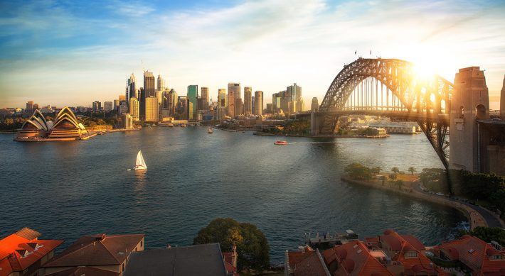 Property looking over Sydney harbour and bridge in Sydney city