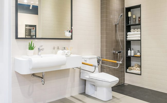Bathroom with adaptations for disabled person