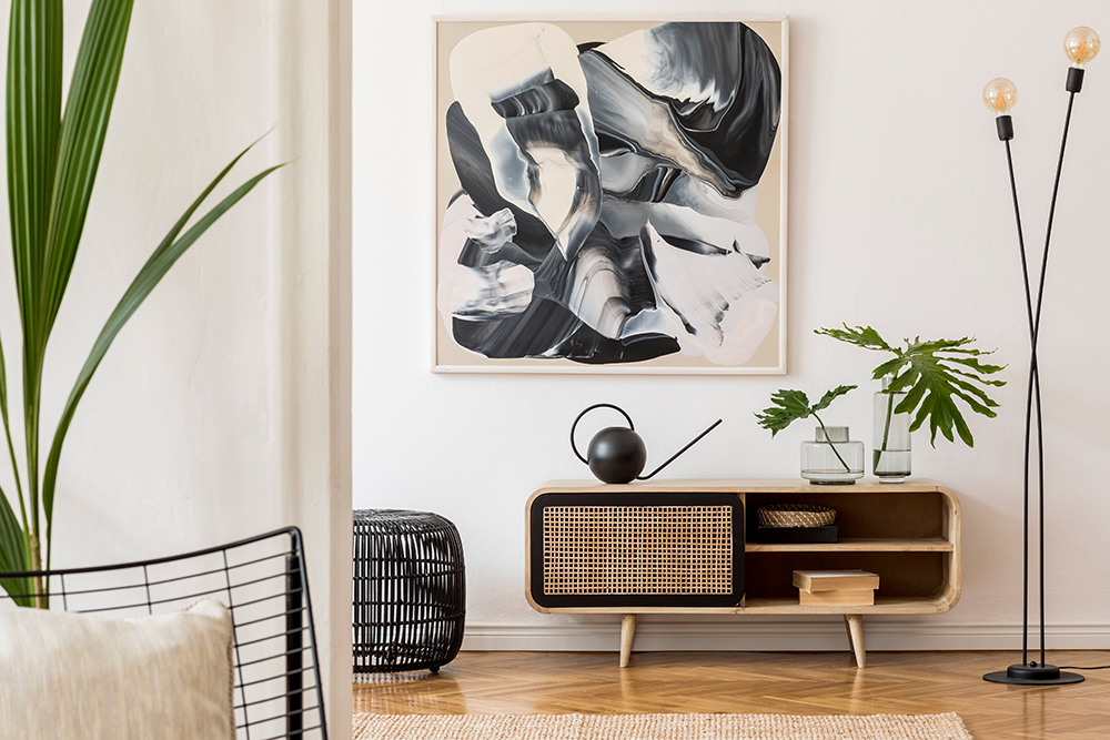 Scandinavian living room with stylish lighting