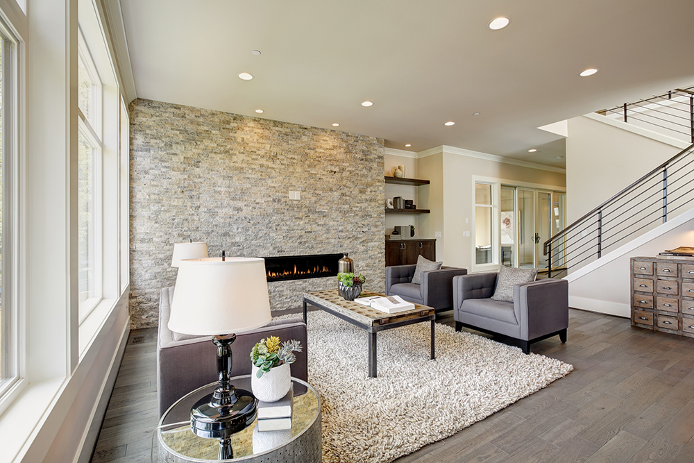Stone wall and fireplace in livingroom