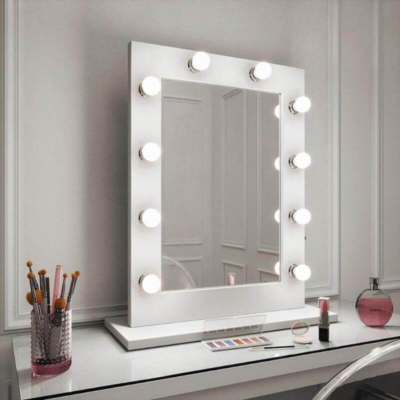Julia White Gloss Hollywood Mirror For Dressing Table