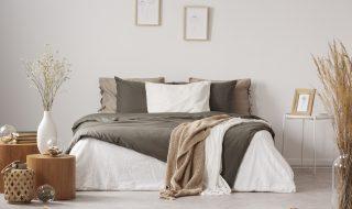 Calming natural bedroom with brown undertones