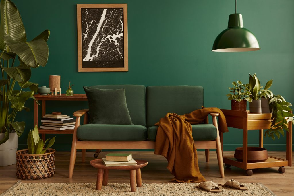 Retro brown and green living room