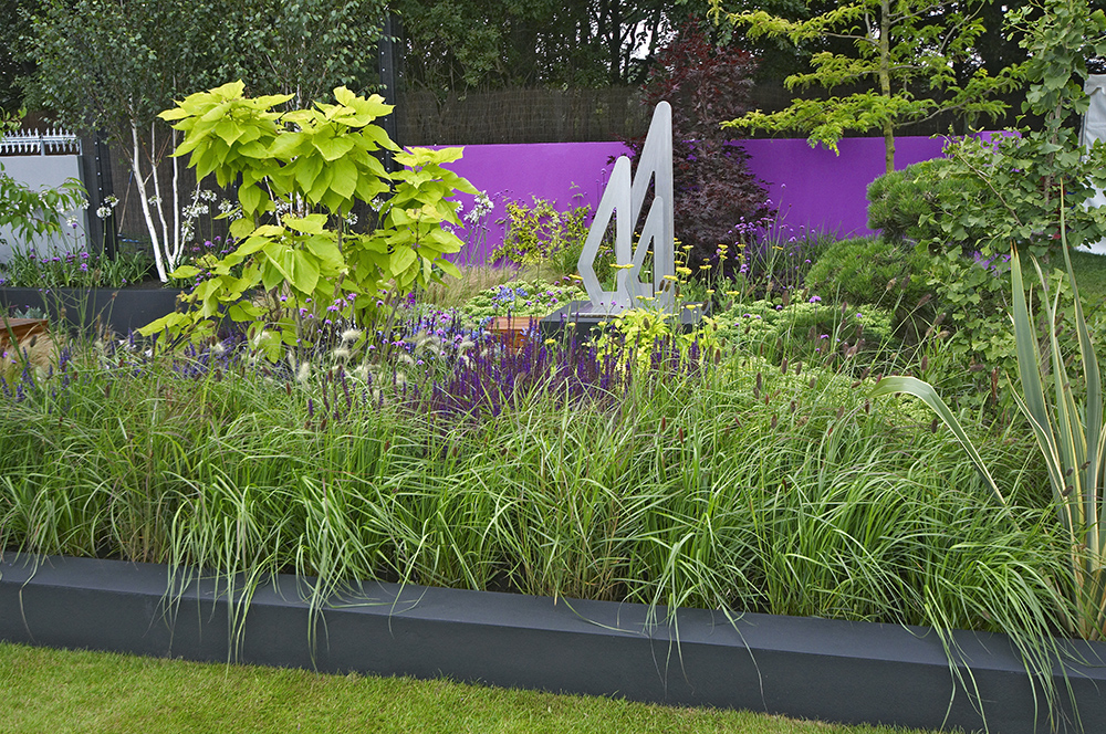 Purple painted garden wall